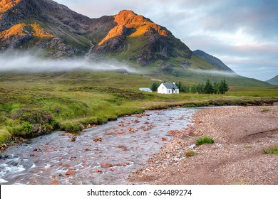 A remote mountain bothy at the foot of Glencoe in the Scottish Highlands