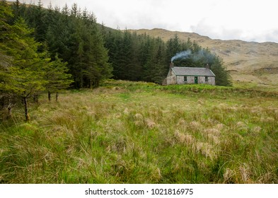 A remote mountain bothy  in the Scottish Highlands