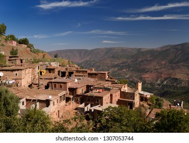 Remote mountainside village near Ait Mansour in the High Atlas mountains of Morocco