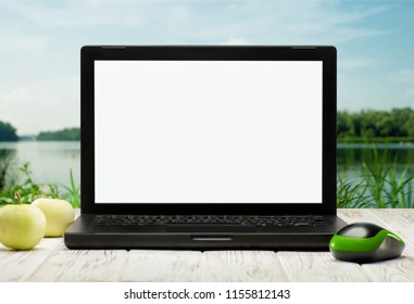 Remote office. Abstract backgrounds with laptop and natural landscape