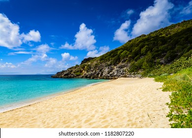 Remote and private Gouverneur Beach on the French Caribbean island of Saint Barthélemy (St Barts.)
