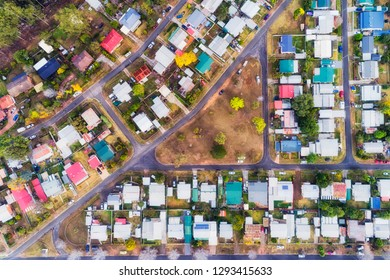 Remote regional suburban town of Warragambah where local residents enjoy quiet streets and relaxed life style in homes seen from above top down.