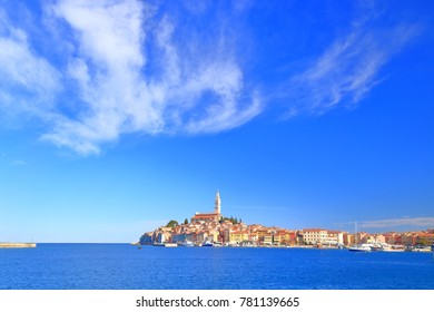 Remote town of Rovinj surrounded by the Adriatic sea , Croatia