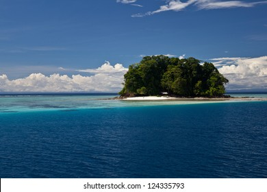 A remote tropical, South Pacific island is surrounded by clear water and diverse coral reefs in the Solomon Islands.