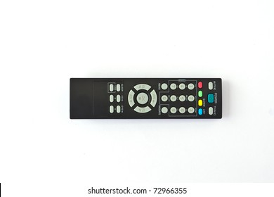 A remote TV controller over a white background