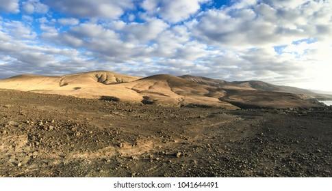 Remote vulcano landscape Fuerteventura.