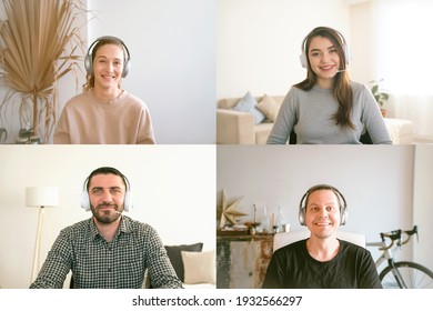 Remote workers team video call conference discussion brainstorming. Four young people with headphones looking to camera and listening webinar