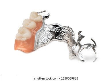 Removable Partial Denture, close up of dental prosthetics on white background
