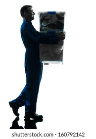 removal man with boxes silhouette  worker silhouette in studio on white background