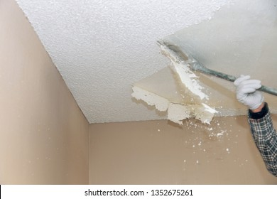 Removal old dirty popcorn ceiling wall background