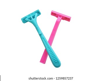 Removal of unwanted hair. top view. Concept of using razor. Shaving razor instrument. Skin care concept. Epilation hair removal. Flat lay, top view.multi-colored women's shaving razors isolated