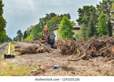 Removal of vegetation in South-Berlin as preparation for the broadening railroad line for the rail connection between Berlin and Dresden, Germany