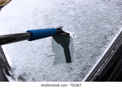 removing frost from car window