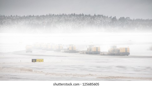 Removing snow from airport