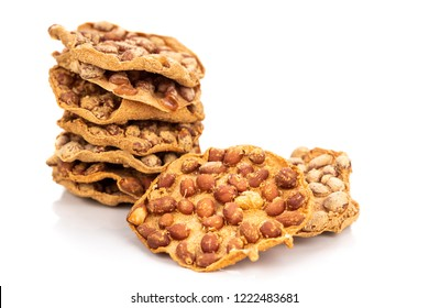 Rempeyek is deep fried cracker snack with peanut, popular in Malaysia and Indonesia