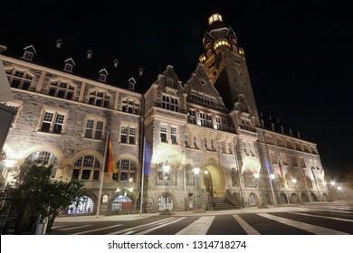 Remscheider town hall at night, night shot