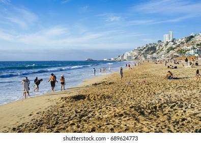 Renaca Beach, Quinta Region, Chile. December 31, 2015. Popular summer resort on the central coast of Chile.