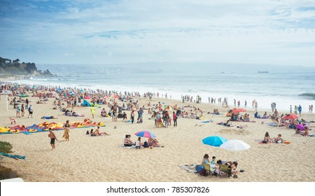 Renaca Beach, Quinta Region, Chile. December 31, 2017. Popular summer resort on the central coast of Chile.