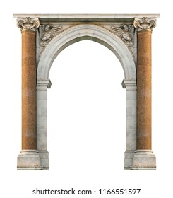 Renaissance or baroque style arch frame background isolated photo