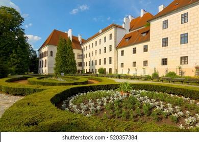 Renaissance Castle with garden in Trebon, South Bohemia