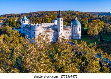 Renaissance castle and park in Krasiczyn near Przemysl , Poland. Aerial view in fall in sunset light