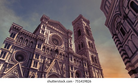 The renaissance cathedral Santa Maria Fiore in Florence in Italy at sunset