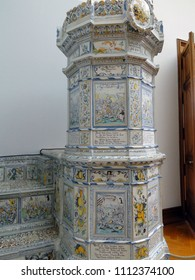 Renaissance ceramic stove , 17th century, decorated with pictures of knights and battle, Geneva, Switzerland