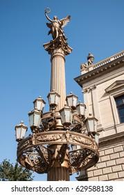 Renaissance column with lamps