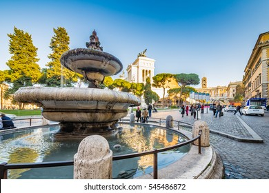 Renaissance  fountain near Altar of the Fatherland in Rome