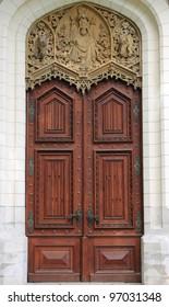 Renaissance front door in Hluboka castle, Czech Republic