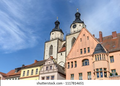 Renaissance houses on the market square in Wittenberg