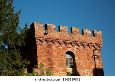 Renaissance Italian castle, detail with trees, horizontal image
