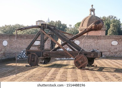 Renaissance italian catapult at fortified castle seen from the side