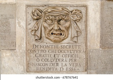 Renaissance letterbox on the wall of the Doge's Palace, Venice.  Citizens could post secret accusations about their fellow City State residents through the slot to be considered by the Council of Ten.