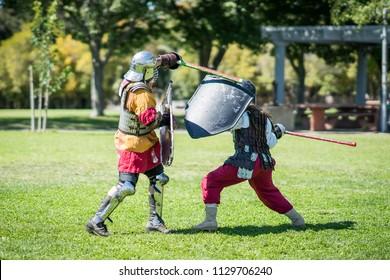 Renaissance medieval knights sword fighting