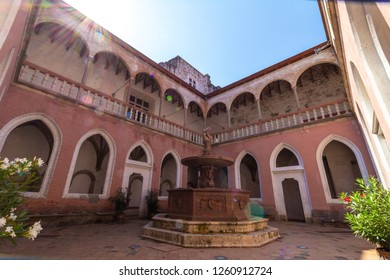 Renaissance Royal Palace in Visegrád, Hungary, inner courtyard with marble fountain, built in the 14-15th century