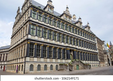The Renaissance style facade of Ghent's town hall (Stadhuis). Town hall building.