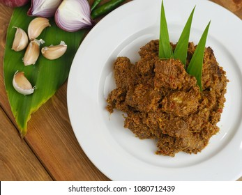 RENDANG DAGING/BEEF RENDANG. A kind of traditional dish usually served during Eid festival. Selective focus. Top view.