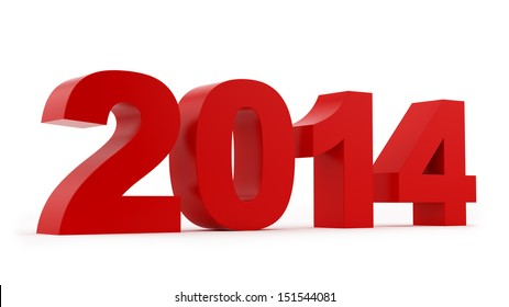 render of 2014, isolated on white
