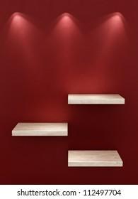 render of 3 empty shelves