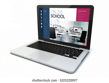 render of a 3d rendering computer with online schoolon the screen. Screen graphics are made up.