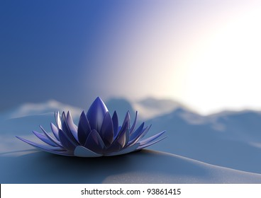 render of an abstract futuristic flower in a winter landscape
