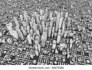 render of a big city