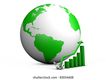 render of a booming bar graph with the earth behind it