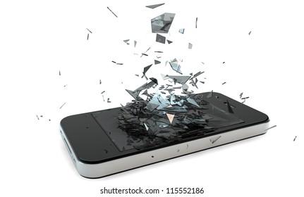 render of a broken smart phone
