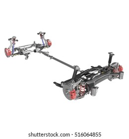 Render of car chassis without engine isolated on white. 3D illustration