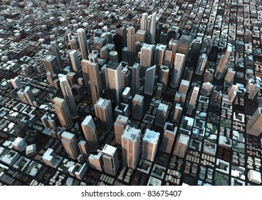 render of a city at dusk