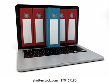 render of a computer with folders in the screen
