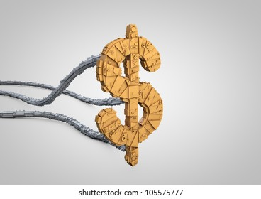 render of a detailed futuristic dollar symbol