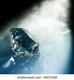 render of a diamond hit by light